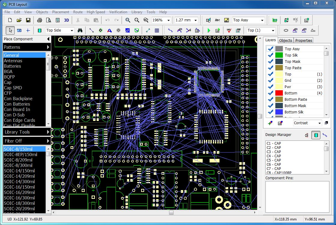 PCB design software interface